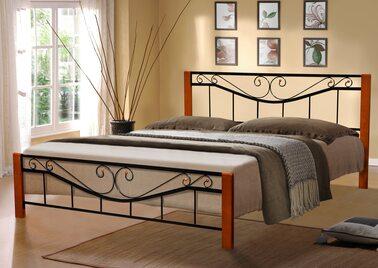 Кровать МИЛЛЕНИУМ ВУД (черный/беж) метал. 160х200см