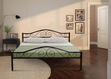 Кровать РЕСПЕКТ (черный/беж) метал. 160х200см