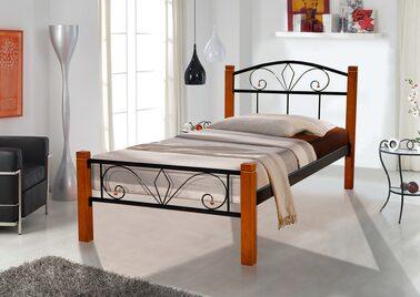 Кровать РЕЛАКС ВУД (черный/беж) метал. 90х200см