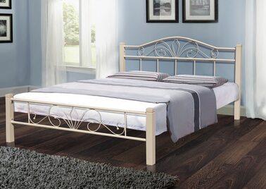 Кровать РЕЛАКС ВУД (черный/беж) метал. 160х200см