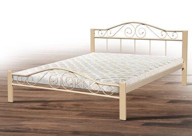 Кровать РЕСПЕКТ ВУД (черный/беж) метал. 160х200см