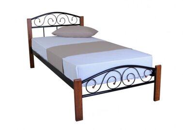 Кровать РЕСПЕКТ ВУД (черный/беж) метал. 90х200см
